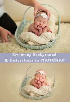 Watch how super easy it is to remove distractions in your background in this Photoshop tutorial, applicable to all versions of Photoshop! Photoshop tips. Photography Lessons, Photoshop Photography, Photography Tutorials, Creative Photography, Digital Photography, Newborn Photography, Photography Studios, Flash Photography, Modern Photography
