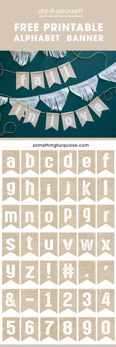 Out This Darling, FREE Printable Burlap Alphabet Banner! Free printable burlap alphabet banner, make it say whatever you want!Free printable burlap alphabet banner, make it say whatever you want! Create A Banner, Diy Banner, Bunting Banner, Buntings, Burlap Bunting, Diy Party Dekoration, Paper Toy, Shower Banners, Party Banners