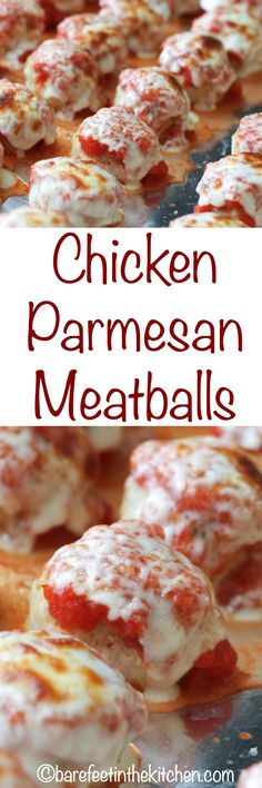 All the flavors of classic Chicken Parmesan are rolled into these bite-size Chicken Parmesan Meatballs. Get the recipe at barefeetinthekitchen.com