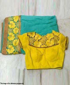 RE - Decent turquoise georgette embroidered saree - Party Wear Sarees - Sarees - Indian Cotton Saree Blouse Designs, Half Saree Designs, Lehenga Designs, Simple Blouse Designs, Stylish Blouse Design, Blouse Designs Catalogue, Saree Trends, Malu, Modern Saree