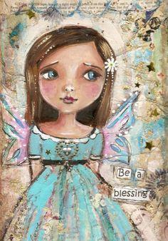 Angel child Original Mixed media painting 6 x 12 Childrens art. $60.00, via Etsy.