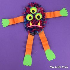 Make some fluffy yarn monsters for Halloween using pom pom trimmings!. This is an easy craft for kids using materials you probably already have at home!