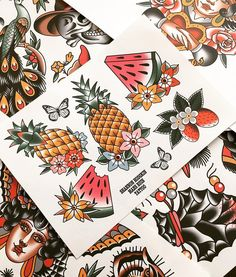 I have time to tattoo next weekend! Send me an email for appointment info! Shannonhodgkin@gmail.com thanks! #melbournetattoo #melbourneartist #traditionaltattoo #traditional #pineappletattoo #watermelon #strawberrytattoo #fruittattoos #flashsheet #stkilda #tattoos #summer