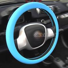 1pc Blue Color Soft Silicon Skidproof Odorless Steering Wheel Cover for car