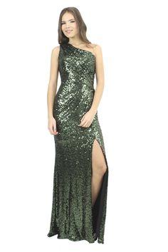 BADGLEY MISCHKA Vestido de lentejuela verde a un hombro, Chiara