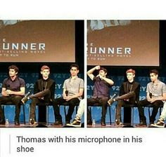 Thomas with his microphone in his shoe.