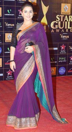 Vidya Balan in Beautiful Sabyasachi Purple #Saree at Star Guild Awards 2013