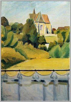 Mario Tozzi 1920: La Chiesa di Lignorelles. Olio su Tela cm.67x46 - Collezione Privata - Archivio n.414 - Catalogo General n.20/16.