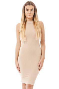 High Necked Sleeveless Ribbed Dress Ex-Branded