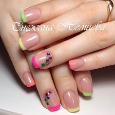 39 - We continue to offer 2019 nail designs to your appreciation - 1 Races continue in nail designs and creativity. We don't know what design we like . French Manicure Acrylic Nails, Acrylic Nails Coffin Short, Green Nails, Pink Nails, Cute Nails, Pretty Nails, Hair And Nails, My Nails, Paris Nails