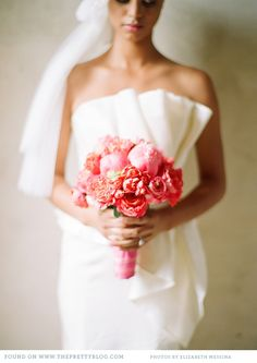 Coral Colored Bouquet: so soft and feminine! For bridesmaid!!
