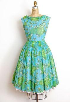 Vintage Blue & Green Floral Dress