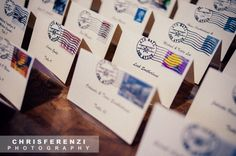 Place cards (printed cards from Staples, rubber stamp from Etsy, stamps from…