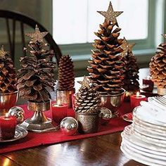 Using pine cones to decorate at Christmas