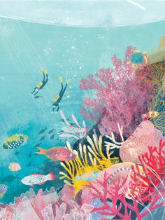 Great Barrier Reef - Katie Rewse Meer Illustration, Stitch 626, Coral Reef Art, Underwater Art, Sea Art, Cute Art, Art Inspo, Illustrations Posters, Watercolor Art