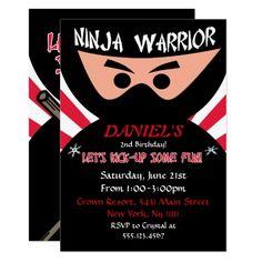 Ninja Warrior Birthday Invitation