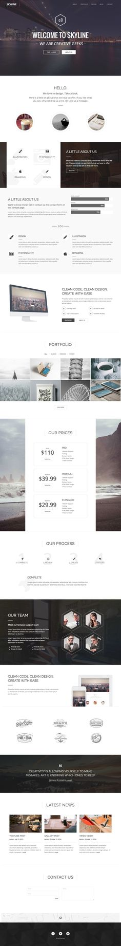 'Skyline' is a multi-page WordPress theme with a One Page layout option for a long scrolling portfolio. The theme comes bundled with Visual Composer and Slider Revolution plugins, saving you a hefty $53. Other features include slideshow, skills graph, portfolio filter, pricing table, team (with more info transitions), client logos, testimonials, news feed and contact form. What's great to see is that Zorbix Themes now have video tutorials for their theme setups.