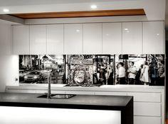 VR Art Glass printed glass splashback Melbourne Mono 8 photo art by Visual Resource Kitchen Interior, Kitchen Design, Printed Glass Splashbacks, How To Lay Tile, Floor Graphics, Sliding Panels, Kitchen Prints, Kitchen Walls, Glass Artwork