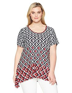 f5ddc364 Ruby Rd. Women's Plus Size Printed Short Sleeve Knit Top With Sharkbite Hem  Beauty Makeup