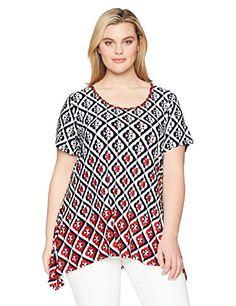 Ruby Rd. Women s Plus Size Printed Short Sleeve Knit Top With Sharkbite Hem  High Fashion · High Fashion DressesSummer ... 1c11fa337