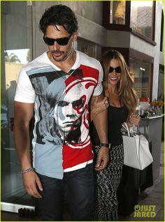 Sofia Vergara Holds Tight to Joe Manganiello's Huge Bicep! Cool shirt too
