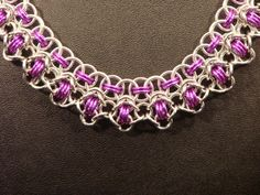 Rondo Byzantine Silver and Violet Chainmaille Necklace by JTFrye