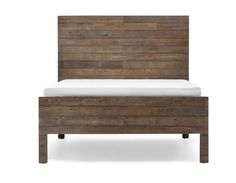 MELBO - Reclaimed pine wood queen size bed - Brown