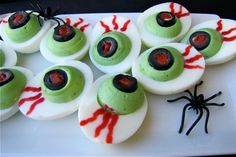 Halloween party snacks: Eyeball deviled eggs by Susi's Cooking and Baking Adventures