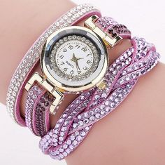 CCQ 2016 New Fashion Casual Quartz Women Rhinestone Watch Braided Leather Bracelet Watch Gift Relogio Feminino Gift 1739