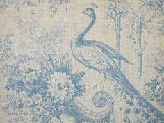 French Linen Curtain Fabric Peacock Blue