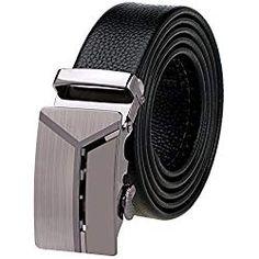 Vbiger Hombre Cinturón de Cuero Hebilla Automática Cinturon Genuino Nivel  Superior 15b7648ae14b