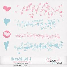 Great for all Valentine's Day projects!  Digital Art :: Element Packs :: Heart-fall Vol. 4 Brushes (dynamic) by Laras Digi World