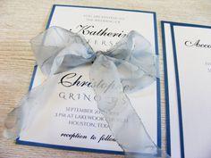 Niagara Blue Wedding Invitation with Watercolor by HandMadeowo