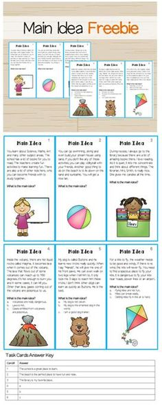 Use these task cards to get kids practicing how to find the main idea and supporting details. Reading Lessons, Reading Strategies, Reading Skills, Reading Comprehension, Comprehension Strategies, Piano Lessons, Art Lessons, Main Idea Activities, Reading Activities