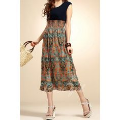 Lady Vintage Sleeveless Bohemian High Waist Long DressSummer Dresses | RoseGal.com