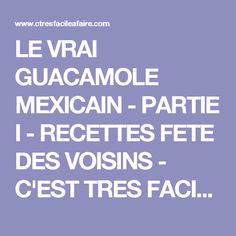 LE VRAI GUACAMOLE MEXICAIN - PARTIE I - RECETTES FETE DES VOISINS - C'EST TRES FACILE A FAIRE