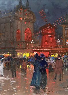The Moulin Rouge, ca. 1906 (x). Eugène Galien-Laloue was a French artist of French-Italian parents who was born in Paris. He was a populariser of street scenes, usually painted in autumn or winter. Art And Illustration, Belle Epoque, Monet, Paris Kunst, Maurice Utrillo, Guache, Caravaggio, Oui Oui, Le Moulin