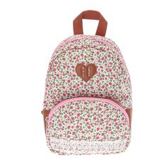 "<P>Cute fashion spotted. A pretty pink floral pattern overlays a a white background with faux brown leather and crochet detail on this casual backpack. It's perfect for storing books, pens, snacks, cosmetics and more to carry on a plane or car ride.</P><UL><LI>Floral print polyester fabric <LI>Zipper closure <LI>1 front zipper pocket <LI>Adjustable straps <LI>W 8""/20cm x H 10""/25cm <LI>Suitable for children 3+</LI></UL>"