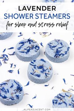 DIY Shower Steamers for Sleep. These lavender shower steamers are a must-have for sleepy time and stress relief! Pop one into your shower for a bit of bedtime aromatherapy or whenever you need to relax. You'll be ready for bed in no time with the relaxing scent of lavender essential oil. Learn how to make natural homemade shower melts with this quick and easy recipe. #showersteamers #showermelts #alifeadjacent #lavender