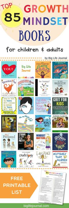 A list of top growth mindset books which promote persistence, love of learning, grit, and learning from mistakes. Growth Mindset Book, Growth Mindset For Kids, Growth Mindset Activities, Growth Mindset Classroom, Activities For Adults, Book Activities, Therapy Activities, Life Journal, Character Education