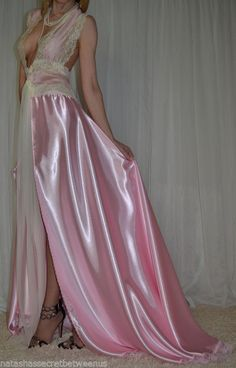 Vtg Lingerie Silky Satin Slip Robe Negligee Lace Top Nightgown XXLarge 2X | eBay