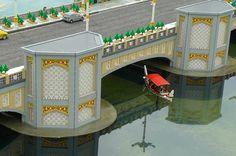 The Putra Bridge at Putrajaya built with Lego bricks