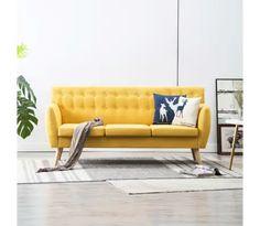 vidaXL sofa stofbeklædning 172 x 70 x 82 cm gul Place Rouge, Sofa Couch, Sofa Colors, Interior Design, Furniture, Home Decor, Komfort, Ebay, Runway