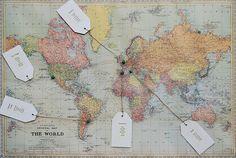 World map themed seating plan