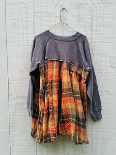 gray pullover funky upcycled dress / tunic / altered by CreoleSha