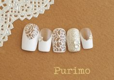 Rose Lace Nails. ..for Bridal.