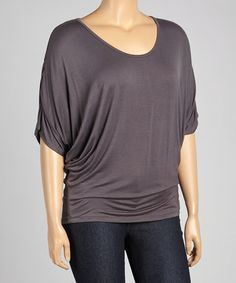Look what I found on #zulily! Charcoal Dolman Scoop Neck Top - Plus #zulilyfinds