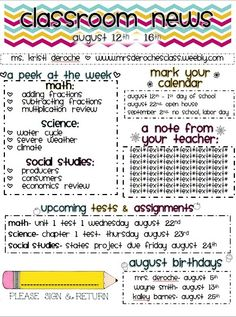 Newsletter Template - a weekly or monthly newsletter  cool idea gives the parents an idea of what there kids do in school
