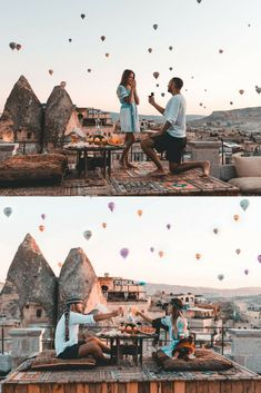 He proposed while watching hot air balloons fly over Cappadocia and it's so roma. He proposed while watching hot air balloons fly over Cappadocia and it's so romantic and unique! Romantic Proposal, Proposal Photos, Perfect Proposal, Romantic Weddings, Unique Proposal Ideas, Surprise Proposal Pictures, Best Wedding Proposals, Marriage Proposals, Engagement Couple