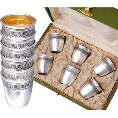 Boxed Antique French Sterling Silver 6pc Liquor Cup Set